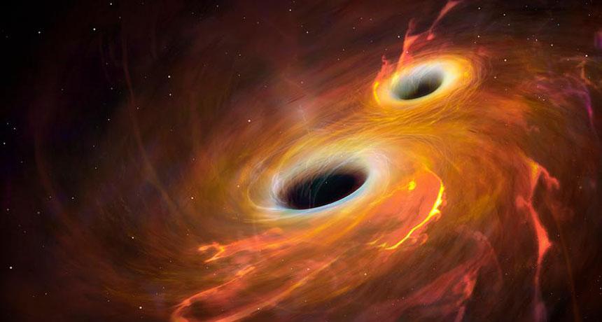 La fusion de deux trous noirs provoque des ondes gravitationnelles si fortes que la fin du monde en découle.