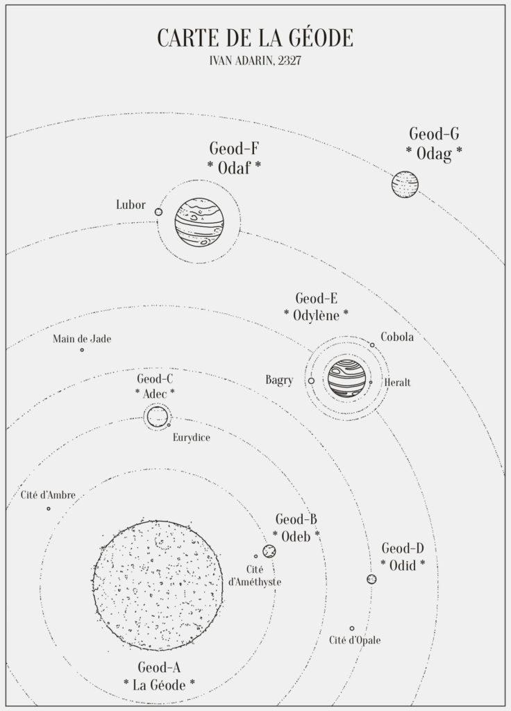 La carte de la Géode, où se déroule l'intrigue de Moteurs de Raison